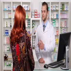 Pharmacist Man Explaining Patient Medicine Pills Instructions Pharmacy Activity Stock Footage