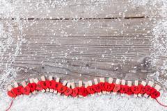 Traditional Christmas advent calendar with snow Stock Photos