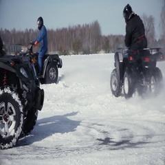 Drift quad on snow Stock Footage
