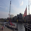 4k People walking at the docks of river Weser promenade Bremen Schlachte 4k or 4k+ Resolution