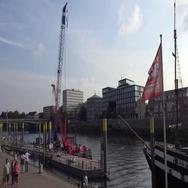 4k People walking at the docks of river Weser promenade Bremen Schlachte Stock Footage