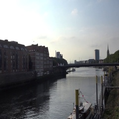 4k Zoom shot from Bremen Schlachte to Becks brewery building Stock Footage