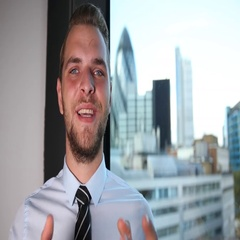 Confident Business Man Smiling Answer to Question Talk Camera London Skyline Day Stock Footage