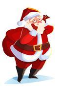 Funny santa. Christmas greeting card Stock Illustration