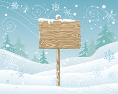 Wooden Sign with Spare Place for Text. Postcard Stock Illustration