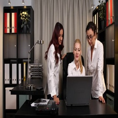 Happy Business Women Team Receive Laptop Good News Job Done Office Company Room Stock Footage
