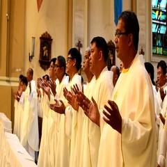 Roman Catholic priests gesture prayer Stock Footage