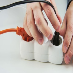 Unplugging All Cables from a Power Board Stock Footage
