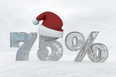 75 percent discount ice number with christmas hat 3d rendering illustration Stock Illustration