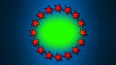 Green screen circle surrounded by rotating red stars Stock Footage