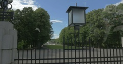 White Doves flying in Green Park Stock Footage
