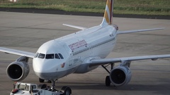 Pushback of Germanwings Airbus A320 Airplane at Cologne/Bonn Airport Stock Footage