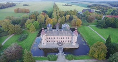 History: Drone coming down in front of fairytale castle Stock Footage