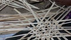 Basket Weaving Lady Stock Footage