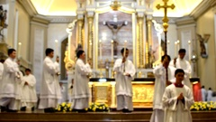 Priests March In Recession After Holy Mass. blurs Stock Footage