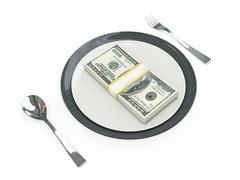 Business concept - Plate, cutlery and dollar banknotes Stock Illustration