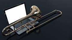 Computer with trombone Stock Illustration