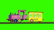 Cartoon Train on Moving Tracks (Green Screen): Loop + Matte Stock Footage