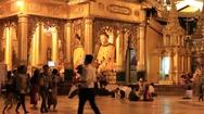 People visit the Shwedagon Pagoda at night , Yangon, Myanmar. Burma Stock Footage
