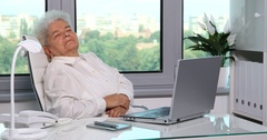 Tired Old Aged Woman Office Interior Sleep Comfortable Seat Dream Exhausted Arkistovideo