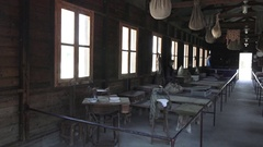 Israeli Detention Camp Museum Bunks 2 Stock Footage