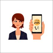 Call center operator, hand holding smartphone with taxi calling app Stock Illustration