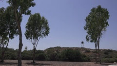 Israeli Detention Camp Exterior with Guard Tower Stock Footage
