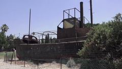 Israel Musuem Rusty Boat Stock Footage