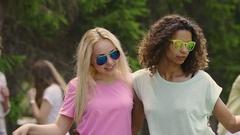 Pretty young women dancing, waving hair, enjoying wonderful life at party Stock Footage