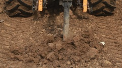 Soil Drilling With Hydraulic Bore Stock Footage