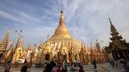 People visit the Shwedagon Pagoda. Yangon, Myanmar. Burma Stock Footage