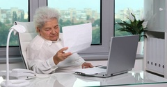 Upset Elderly Woman Examining Invoices Insolvency Usd Bills Debt Money Payments Stock Footage