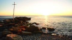 Wild beach at sunset Stock Footage