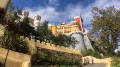 Pena Castle Access Ramp In Sintra, Portugal Stock Footage