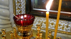 Candleholder. Details in the Orthodox Christian Church. Russia Stock Footage