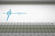 Bottom View - Close up - monitor - heartbeat line - blue - SD Stock Footage
