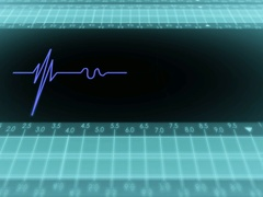 Bottom View - Dark Screen - monitor - heartbeat line - Blue - SD Stock Footage