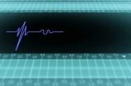 Bottom View - Dark Screen - monitor - heartbeat line - Blue - SD Stock Footage