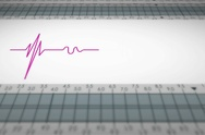 Bottom View - Close up - monitor - heartbeat line - purple - SD Stock Footage
