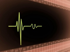 Left View - Dark Screen - monitor - heartbeat line - red - SD Stock Footage