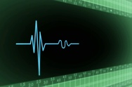 Left View - Dark Screen - monitor - heartbeat line - green - SD Stock Footage