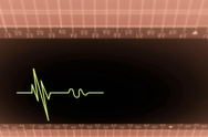 Upper View - Dark Screen - monitor - heartbeat line - red - SD Stock Footage
