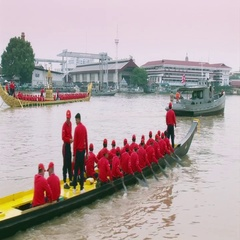 Royal Thai Barge Procession Rehersal with no costume Stock Footage