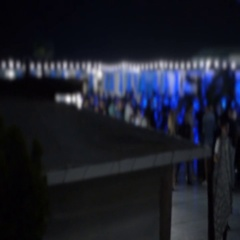 Night summer Club near Pool when People Blurred and relaxing under the sky Stock Footage