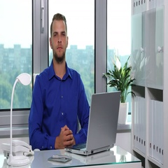 Attractive Businessman Looking Camera Trustful Presentation Serious Look Office Stock Footage