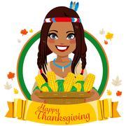Thanksgiving Native American Woman Stock Illustration