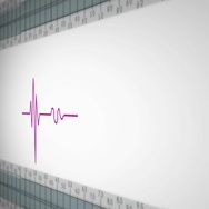 Right View - Close up - monitor - heartbeat line - purple Stock Footage