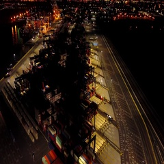 Aerial View Containers Shipping Yard at Night 4k Stock Footage