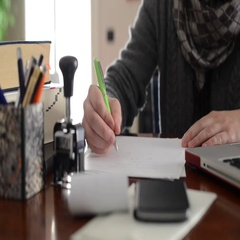 Accountant signing and stamping the documents Stock Footage
