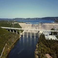 Mansfield Dam Aerial Stationary Shot Stock Footage